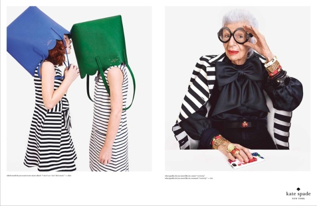 Iris apfel karlie kloss by emma summerton for kate spade for Small luxury hotel 7 little words