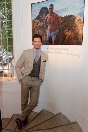David Gandy previews the next stage in the David Gandy for Autograph collection – swimwear, which is set to launch in June 2015 Pic Credit: David M. Benett, Credit: Getty Images. Picture Shows; David Gandy